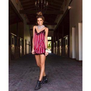 Dresses - Burgundy White Striped Lace Trim Cami Dress